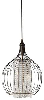 monika indoor 3 light copper and crystal chandelier