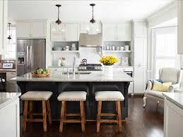 Kitchen:Square Modern Wooden Kitchen Island With Round Top Wooden Bar  Stools Two Tone Kitchen
