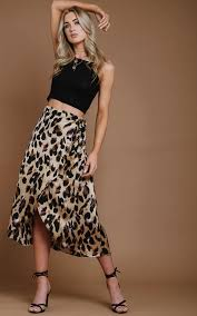 Love Haus Size Chart Satin Wrap Leopard Print Skirt By Haus Of Deck