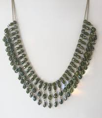 Designing Jewelry With Glass Beads Nicole Miller Bib Necklace Green Art Glass Beaded Runway Necklace Vintage Designer Signed Statement Necklace