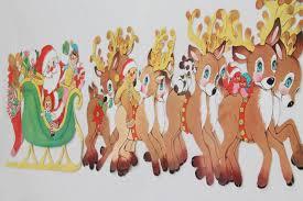 vintage Christmas decorations, paper die-cut Santa & reindeer for holiday  window or wall