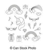 Colorare Dolci Unicorno Divertimento Gelato Nuvola Adesivi