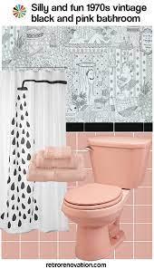 retro pink and black tile bathroom