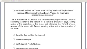 tenant renewal letter landlord to tenant 30 day notice of expiration of lease and