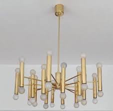mid century modern large midcentury 36 lights doria sputnik brass chandelier pendant light 1960s