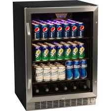Undercounter Drink Refrigerator 148 Can Glass Door Refrigerator Stainless Steel Beverage Cooler