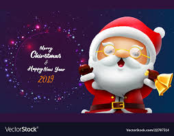 Merry Christmas And Happy New Year Card With Vector Image