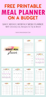 Monthly Meal Planner Printable Free Meal Planner Printable 15 Menu Budgeting Tookit