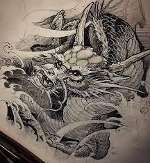эскиз тату с восточным драконом Tatto эскиз дракона эскиз тату