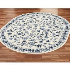 bonnie blue round rug ivory blue 7 6