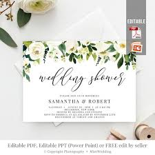 Free Bridal Shower Invite Templates Wedding Shower Invitation Template Printable White Flowers Bridal Shower Invite Editable Greenery And Gold Invite Instant Download Bs26