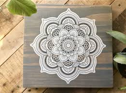 >wood wall art mandala painting mandala wall d cor mandala home  wood wall art mandala painting mandala wall d cor mandala home d cor weathered grey wooden sign white mandala mandala art rustic art