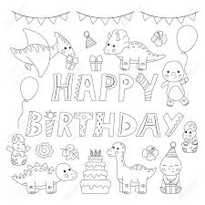 Happy birthday coloring page is an important part of big archive of coloring pages.try to use different colors, make picture happy birthday original! Kawaii Cartoon Dinosaurs Happy Birthday Coloring Page Greeting Royalty Free Cliparts Vectors And Stock Illustration Image 137326919