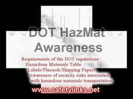 Dot Hazardous Materials Table Dot Hazmat Awareness Course Youtube