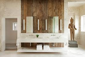 wood wall decor ideas bathroom rustic with polished metal rectangular mirrors wall mounted faucet polished metal