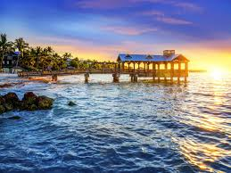 pier at sunset on the beach in keywest florida usa