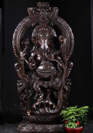 sold large wooden dancing ganesh on kalinga 80