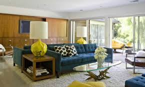 Mid Century Living Room Living Room Cozy Mid Century Interior Design With Chenille Sofa