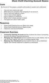 Checking Account Worksheets For Students Create A Simple Checkbook