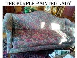the purple painted lady painting a couch chalk paint fabric before after 1 how to leather