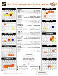 Printable Attendance Calendar 2020 Days Of Attendance Calendar Hastings Public Schools