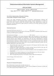 Information System Manager Resume Resume Telecommunications Information Systems Management System 2