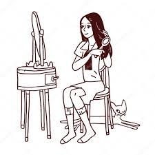 hand mirror sketch. 1024x1024 Girl Combing Her Hair \u2014 Stock Vector © Schiva Hand Mirror Sketch T