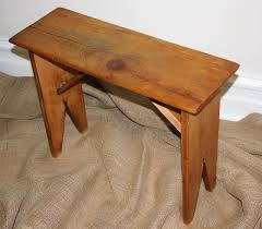 Antique Wood Bench Vintage Primitive Wooden  Stool Antique Wooden Bench55
