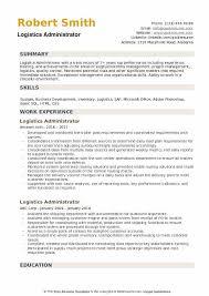 Logistics Administrator Resume Samples Qwikresume