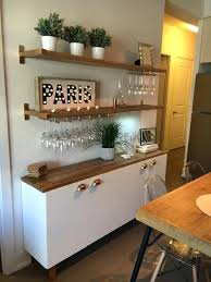 statement bar with floating shelves kitchen wine glass rack wood and island table
