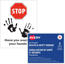"AVERY Hygiene Signage Decal, Hand Wash Reminder, Great for Windows, Mirrors  and Metal, 8.5"" x 11"", 5 Labels Per Package, Removable (83024): Amazon.ca:  Office Products"