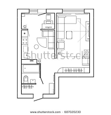 floor plan with furniture. architecture plan with furniture house floor kitchen lounge and bathroom thin