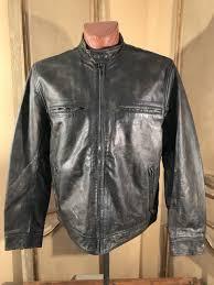 lucky brand mens motorcycle bonneville cafe racer leather jacket size xl