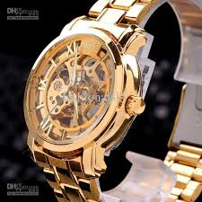 2015 hot sell new gold watch mens skeleton mechanical fashion display type analog case material stainless steel case diamater 4millimetres case thickness 1 4 millimetres band material band material