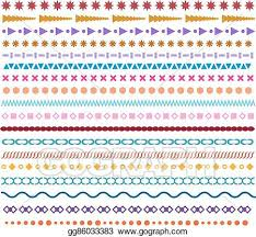 Vector Clipart Colored Vector Line Borders Pattern