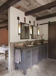 bathroom fans middot rustic pendant. Bathroom Design, Fascinating Rustic Ensuite Design With Gray Modern Wooden Vanity And Dark Fans Middot Pendant N