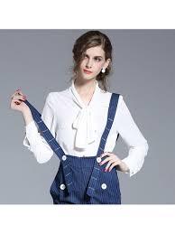 Women Ribbon Bow Tie Office Shirt