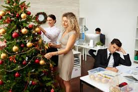 christmas decorating for the office. Unique The Image Of Office Workers Decorating A Christmas Tree Throughout Decorating For The Office