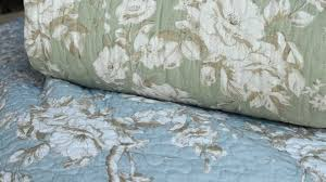fl printed bedspread stack pale blue or green