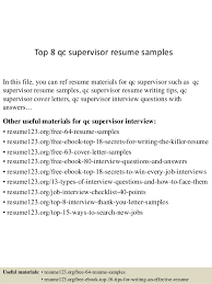 Top 8 qc supervisor resume samples In this file, you can ref resume  materials for ...