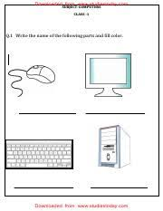 cbse class computer science worksheet the keyboard  4 pages cbse class 1 computer science assignment 3