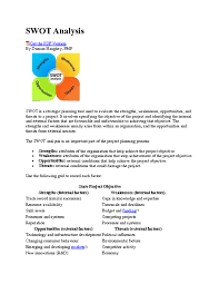 the swot analysis is an important part of the project planning swot analysisget the pdf versionby duncan haughey pmpswot is a strategic planning tool used to evaluate the strengths weaknesses opportunities