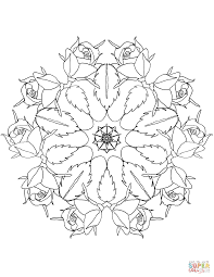 Mandala with Roses coloring page | Free Printable Coloring Pages