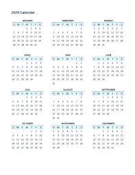 12 Months 2020 Calendar 2020 Yearly Calendar Printable 12 Months Calendar Shelter