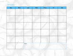 A Blank Calendar Page With Only The Days And The Month Listed
