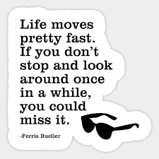 Ferris Bueller Life Moves Pretty Fast Quote Ferris quote Life moves pretty fast Movies Sticker TeePublic 44