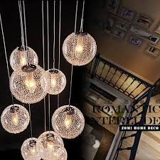 large pendant lighting new modern long stair round ball res chandeliers 10 lights