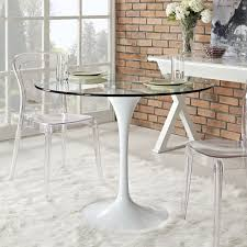 lushbaugh clear transparent dining table mid century modern