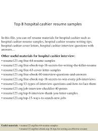 Top 8 Hospital Cashier Resume Samples