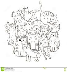 cats for coloring. Plain Coloring Circle Shape Pattern With Cute Cats For Coloring Book To Cats For Coloring C
